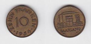 10 Franken Messing Münze Saarland 1954 (130627)