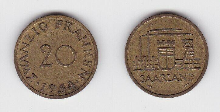 20 Franken Messing Münze Saarland 1954 vz (130548)