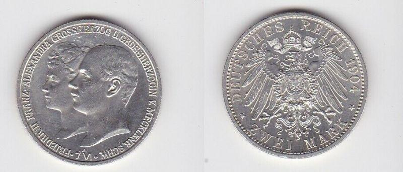 2 Mark Silber Münze Mecklenburg Schwerin Hochzeit 1904 Stgl. (130890)