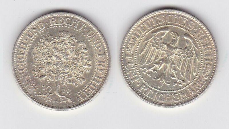 5 Mark Silber Münze Weimarer Republik Eichbaum 1928 F (131497)