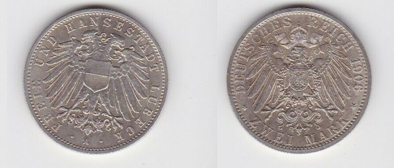 2 Mark Silbermünze freie und Hansestadt Lübeck 1906 Jäger 80 (131016)