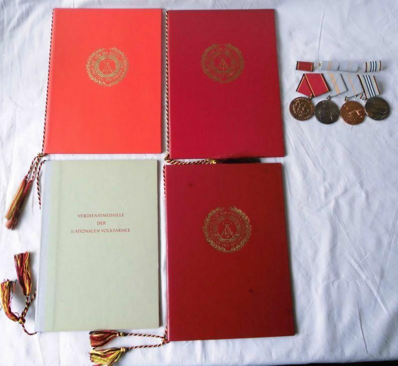 4er DDR Ordensspange NVA plus Urkunden (100782)