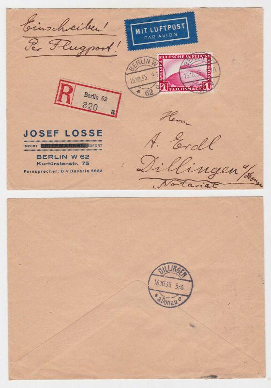 Einschreiben Zeppelin Brief Berlin Dillingen 1935 (122394)