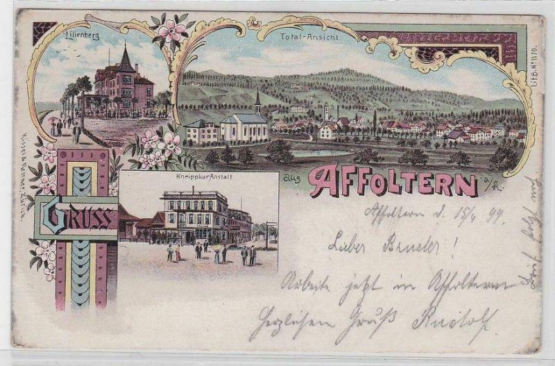 80262 Ak Lithographie Gruß aus Affoltern Lilienberg, Kneippkuranstalt 1899