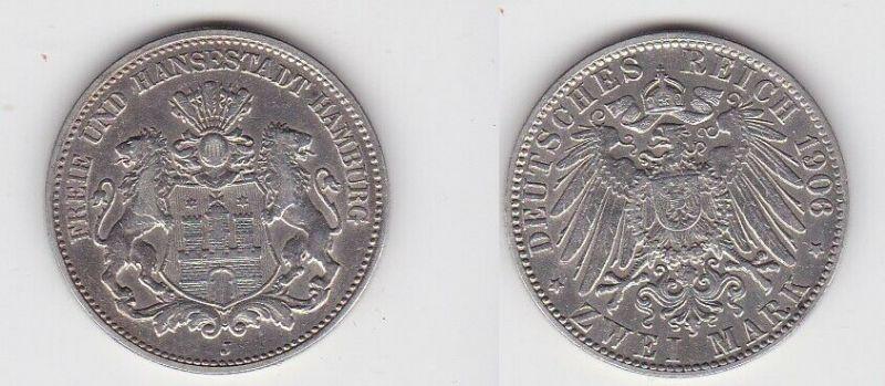 2 Mark Silbermünze Freie und Hansestadt Hamburg 1906 Jäger 63 (131175)
