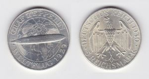 5 Mark Silber Münze Graf Zeppelin Weltflug 1930 A f.Stgl. (131337)