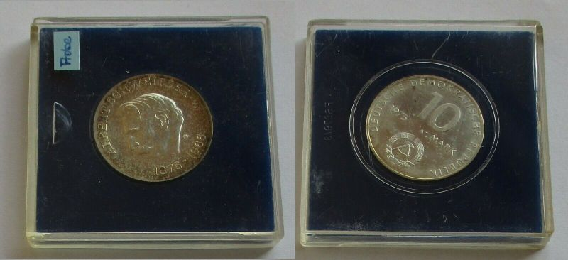 DDR Gedenk Münze 10 Mark Albert Schweitzer 1975 Motivprobe glatter Rand (132128)