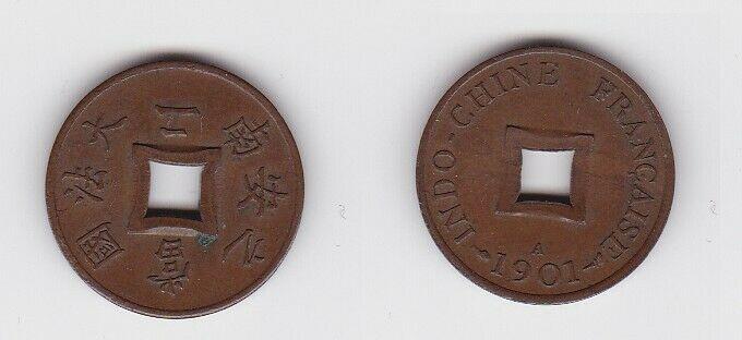 2 Sapeque Bronze Münze Französisch Indochina 1901 A f.vz (130626)