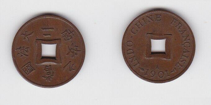 2 Sapeque Bronze Münze Französisch Indochina 1901 A f.vz (130580)