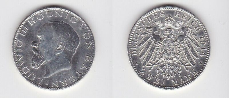 2 Mark Silber Münze Bayern König Ludwig III 1914 (131011)