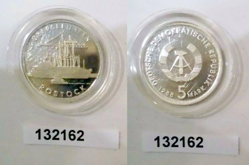 DDR Gedenk Münze 5 Mark Überseehafen Rostock 1988 PP in Kapsel (132162)