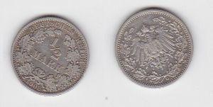 1/2 Mark Silber Münze Deutsches Reich 1908 G  (130111)
