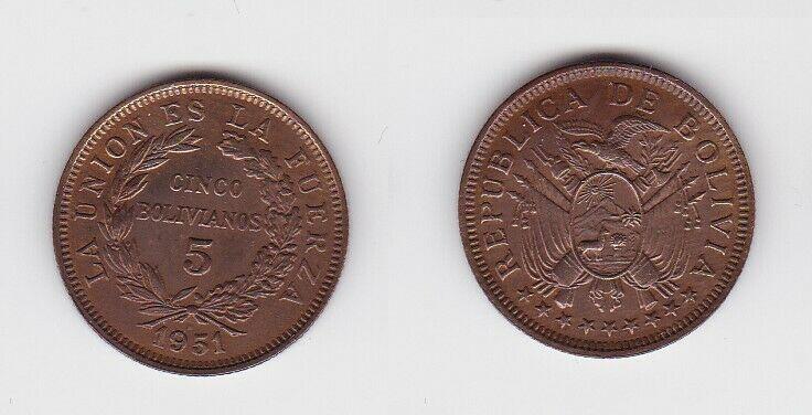 5 Bolivianos Kupfer Münze Bolivien 1951 (130527)