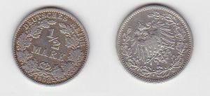 1/2 Mark Silber Münze Deutsches Reich 1908 G  (130053)