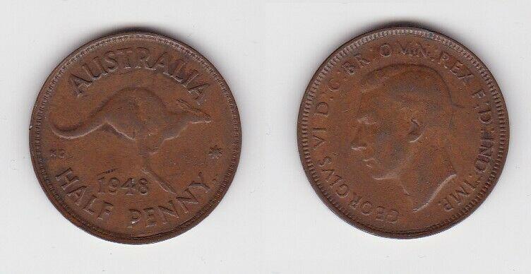 1/2 Penny Kupfer Münze Australien Känguru 1948 (130574)