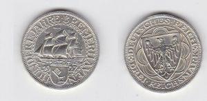 3 Mark Silber Münzen Hundert Jahre Bremerhaven 1927 A (131348)