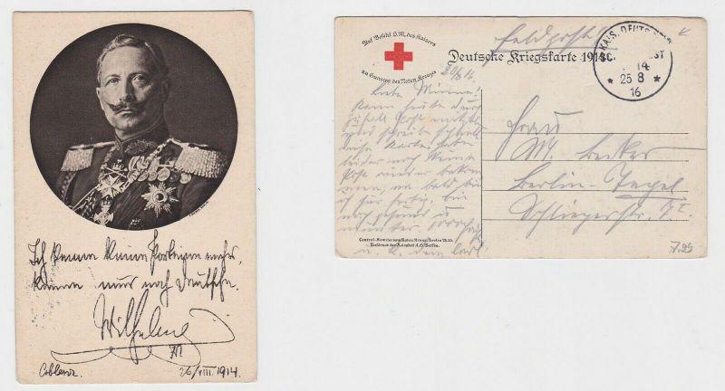 74670 Portrait AK Kaiser Wilhelm II Dt. Kriegskarte 1914, Marine Schiffspost 14