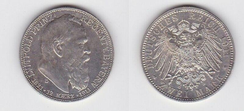 2 Mark Silbermünze Bayern Prinzregent Luitpold Geburtstag 1911 Jäger 48 (131012)