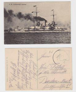 92548 AK S.M. Linienschiff Nassau - Marine Schiffspost 1915