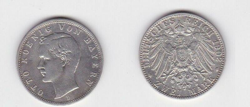 2 Mark Silbermünze Bayern König Otto 1902 Jäger 45 (131162)