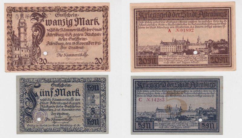 5 & 20 Mark Banknoten Notgeld Stadt Altenburg 15.11.1918 (132569)