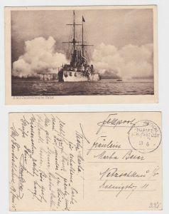 85944 AK S.M.S. Deutschland im Salut - Marine Schiffspost No. 90? - 1915