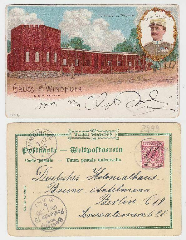 79816 Ganzsachen Ak Lithographie Gruß aus Windhoek D.S.W. Afrika 1900