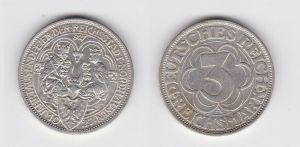 3 Mark Silber Münze Jahrtausendfeier Nordhausen 1927 (131494)