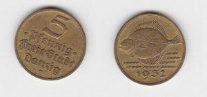 5 Pfennig Messing Münze Danzig 1932 Flunder (130098)