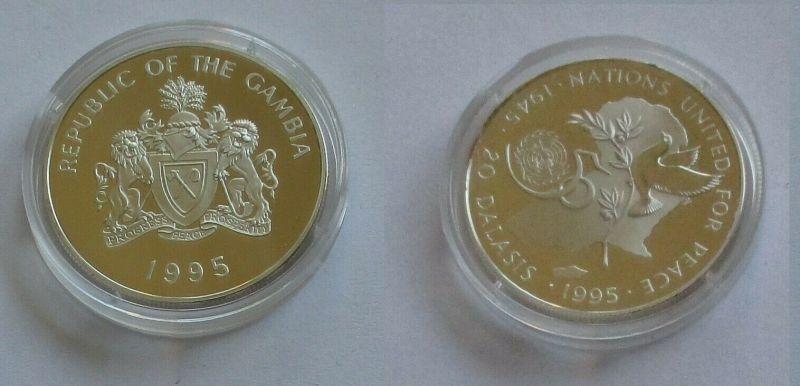 20 Dalasis Silbermünze Gambia 1995 50 Jahre UNO PP (132142)