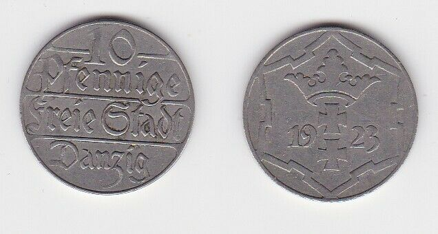 10 Pfennig Kupfer Nickel Münze Danzig 1923 Jäger D 5 (130783)