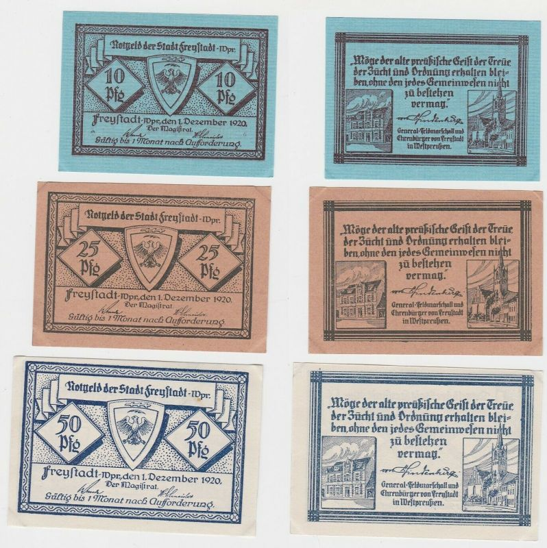 3 x Banknoten Notgeld Stadt Freystadt in Westpreussen 1920 (133074)