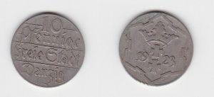 10 Pfennig Kupfer Nickel Münze Danzig 1923 Jäger D 5 (130133)
