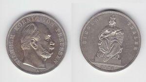 Schöne Silber Münze 1 Siegestaler Preussen 1871 vz+ (129985)