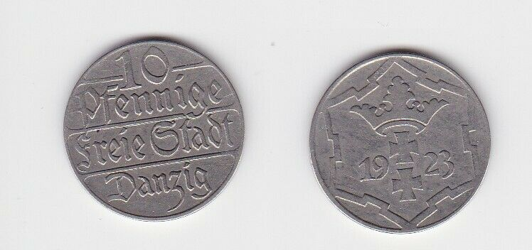 10 Pfennig Kupfer Nickel Münze Danzig 1923 Jäger D 5 (130125)
