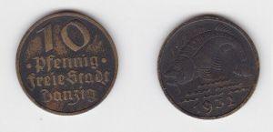 10 Pfennig Messing Münze Danzig 1932 Dorsch Jäger D 13 (130099)
