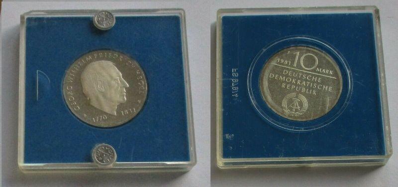 DDR Gedenk Münze 10 Mark Georg Wilhelm Friedrich Hegel Silber PP (132010)