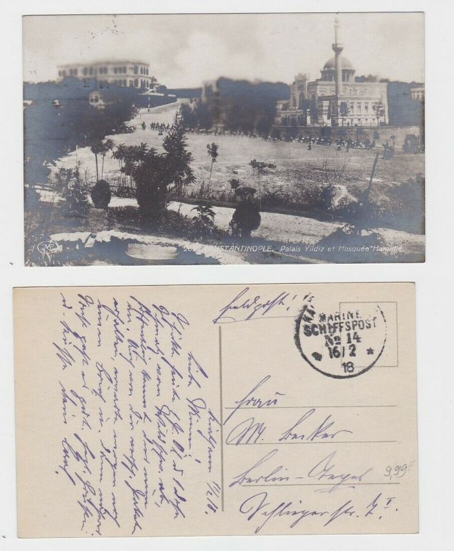 92610 AK Constantinople - Yildiz Palast und Hamidié Moschee, Marine Schiffspost