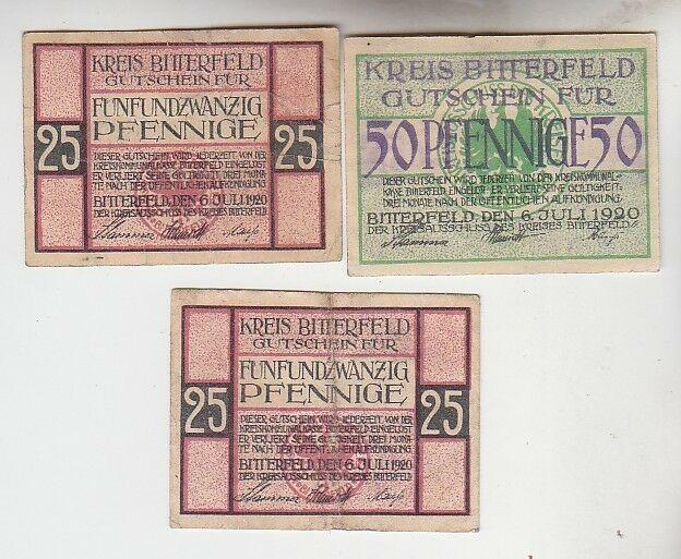 2 x 25 und 50 Pfennige Notgeld Kreis Bitterfeld 1920 (110101)