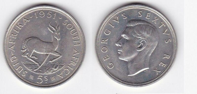 5 Schilling Silber Münze Südafrika Springbock 1951 (129879)