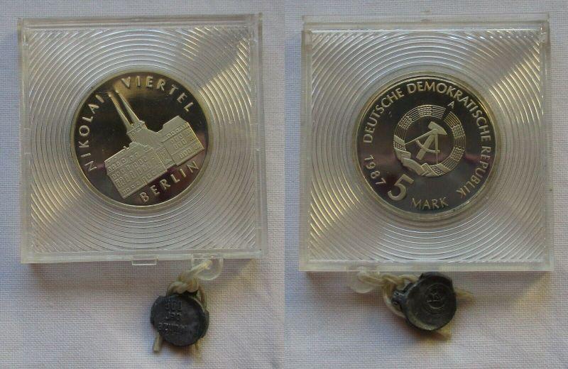 DDR Gedenk Münze 5 Mark Berlin Nikolai Viertel 1987 PP verplombt (131712)