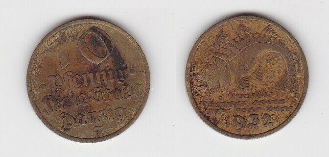 10 Pfennig Messing Münze Danzig 1932 Dorsch Jäger D 13 (130097)