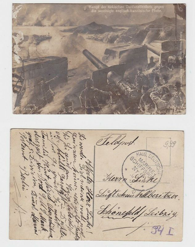 83829 Militär AK Kampf der türkischen Dardanellenforts gegen Alliierten Flotte