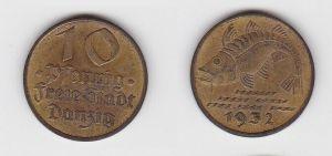 10 Pfennig Messing Münze Danzig 1932 Dorsch Jäger D 13 (130050)