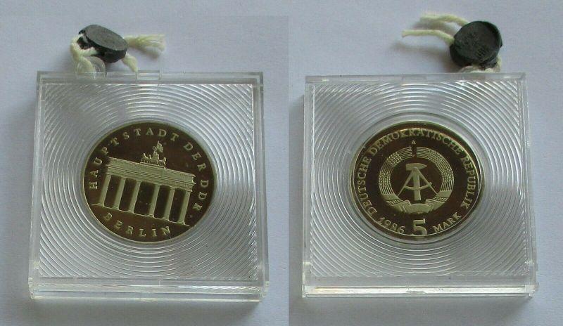 DDR Gedenk Münze 5 Mark Brandenburger Tor 1986 PP verplombt (132197)