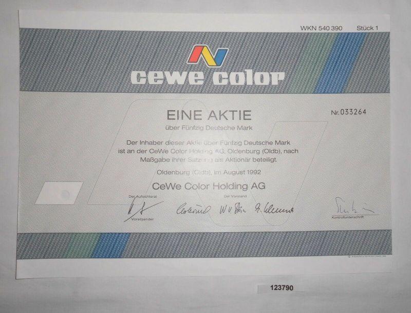 50 Mark Aktie CEWE Color Holding AG Oldenburg August 1992 (123790)