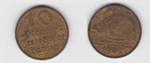 10 Pfennig Messing Münze Danzig 1932 Dorsch Jäger D 13 (130089)