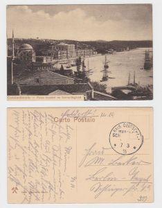 64071 Marine Schiffspost AK Constantinople - Kaiserpalast von Dolma-Bagtché 1916