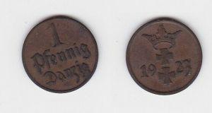 1 Pfennig Kupfer Münze Freie Stadt Danzig 1923 (130094)