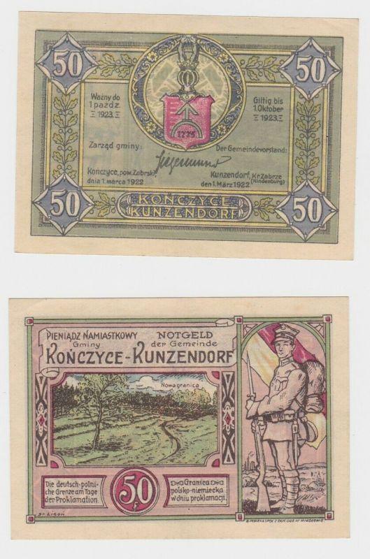 50 Pfennig Banknoten Notgeld KUNZENDORF (Polnisch Oberschlesien) 1922 (132626)